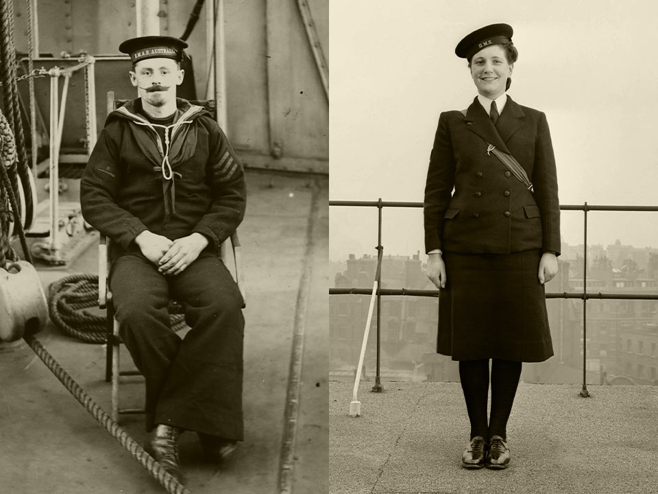 Sepia-tinted, vintage images of a man and woman in navy uniform.