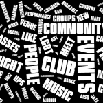 A wordcloud. In order of prominence, the main words are events, club, community, people, night, music, etc.