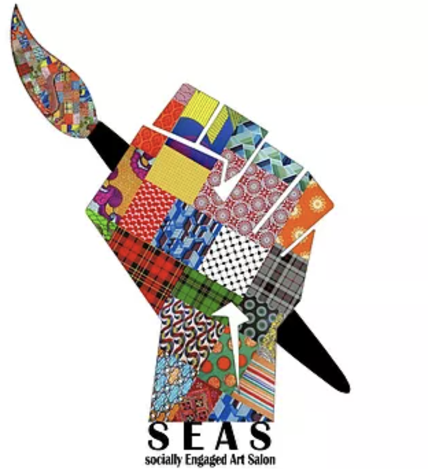 SEAS Logo - A patchwork raised fist holds an art brush.