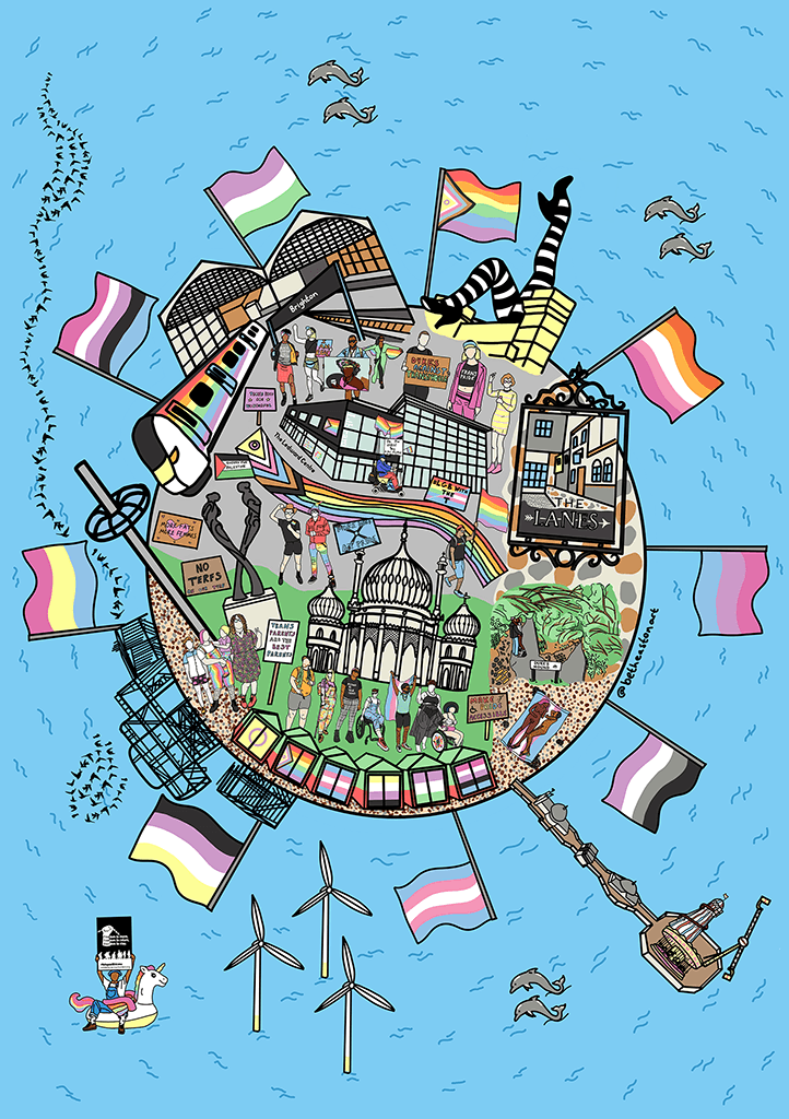 A birds-eye view of a circle of land surrounded by sea and pride flags. The circle contains buildings, attractions and landmarks iconic brighton, including beach huts, the Pavilion, the Brighton AIDS Memorial, and The Ledward Centre.